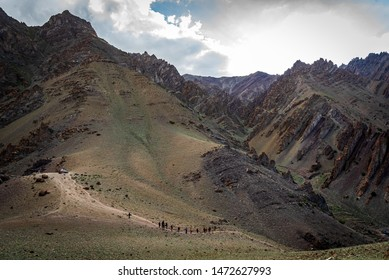 Hiking on the trail to Stok Kangri peak expedition, Leh-Ladakh, J&K, India