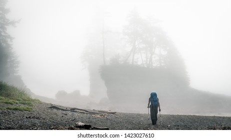 Hiking on the West Coast Trail (WCT) views on Vancouver Island British Columbia a long distance trail along the treacherous shoreline with inclement weather which is a great outdoor experience