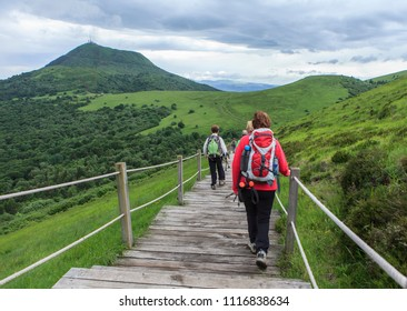 hiking on the wooden staircase