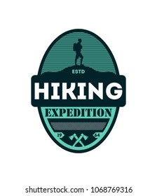 Hiking outdoor expedition vintage isolated badge. Nature adventure symbol, mountain and forest explorer, touristic extreme trip label illustration