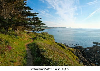 hiking path above cliffs  between the Village of Erquy and Plage de Saint Pabu in Bretagne