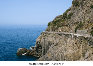 Hiking path along the coast connecting the five villages of Cinque Terre, northern Italy, commonly known as Lover's Path (Via dell'Amore)