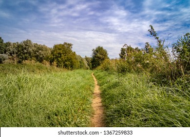 Hiking path besides the river Niers in West Germany between grassland