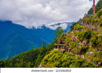Hiking path to the famous Paro Taktsang or Tiger's Nest monastery, Bhutan.