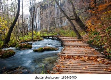Hiking path on a wooden trail at National park Plitvice, Croatia.