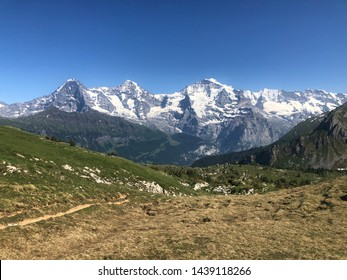 hiking path in the swiss alps jungfraujoch