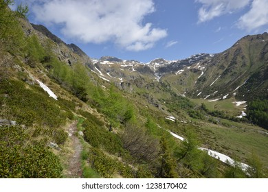 Hiking path in Val Bighera in Front of beautiful Mountains and a cloudy blue sky