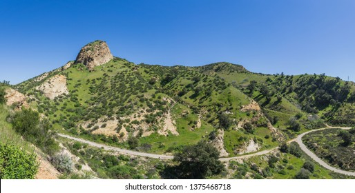 Hiking paths lead through a green California canyon near Santa Clarita.