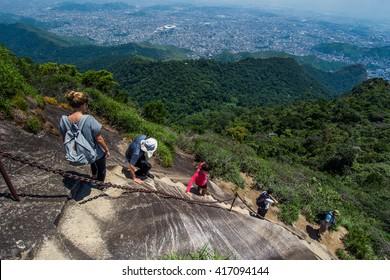 Hiking to Pico da Tijuca, the highest in Tijuca Forest National Park, Rio de Janeiro, Brazil