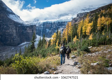 Hiking at Plain of Six Glaciers from Lake Louise, Banff National Park, Canada