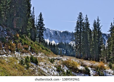 Hiking in season's first snow in the Wasatch Mountains