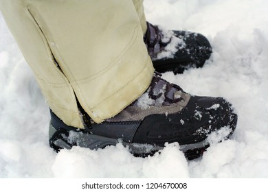 Hiking shoes in the snow