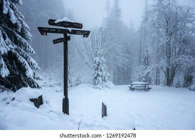 Hiking sign at the Brocken