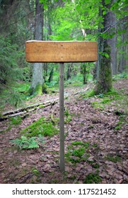Hiking sign in forest