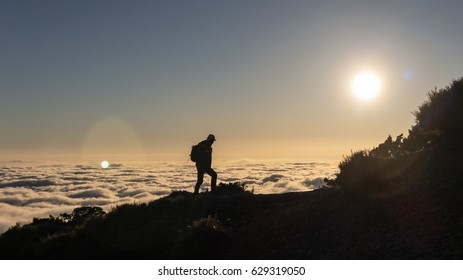 Hiking with the sunset