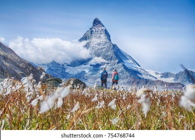 Hiking in the swiss alps with flower field and the Matterhorn peak in the background.
