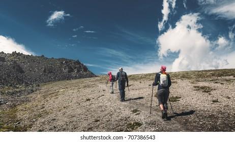 Hiking Team. Travel Destination Experience Lifestyle Concept concept