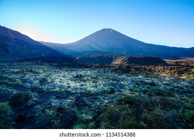 hiking the tongariro alpine crossing, grassand rocks, cone volcano mount ngauruhoe at sunrise, new zealand