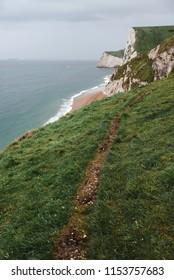 Hiking trail along the United Kingdom coastline, near Durdle Door
