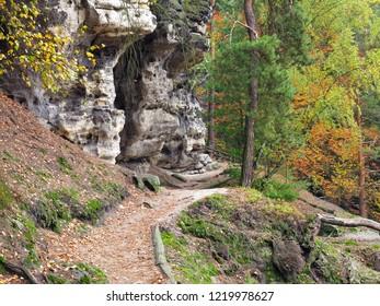 Hiking trail in the autumn forest, Bohemian Switzerland, Czech republic