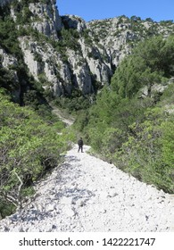 hiking trail to bay of Calanque d en Vau Calanques National Park Marseille Provence April France