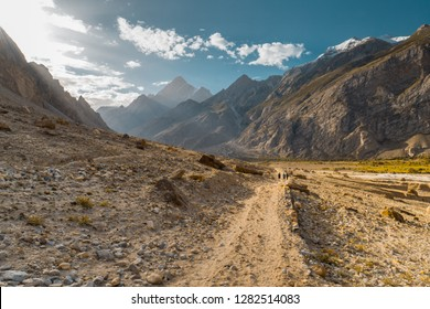 Hiking trail in beautiful valley of Karakoram Mountains, Pakistan, leading to K2 base camp.