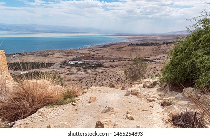 a hiking trail between the vegetation and the ancient mamluk flour mill at the ein gedi spring with the kibbutz and the dead sea in the background