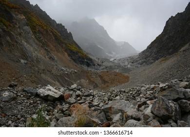 Hiking trail to Chalaadi Glacier in Mestia, Georgia