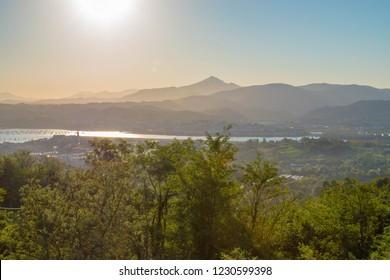 Hiking trail in Europe. Camino de Santiago, Camino Norte, from Irun to San Sebastian.