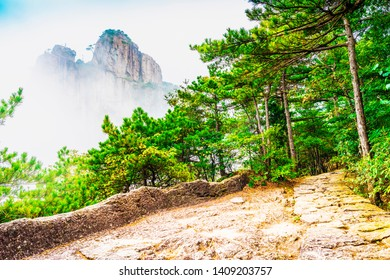 Hiking trail in Huangshan (Yellow Mountains). Located in Xihai Great Canyon (West Sea Grand Canyon), Huangshan, Anhui, China.