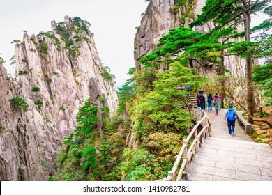 Hiking trail in Huangshan (Yellow Mountains). Located near Shixin Peak (Begin to Believe Peak), Huangshan, Anhui, China.