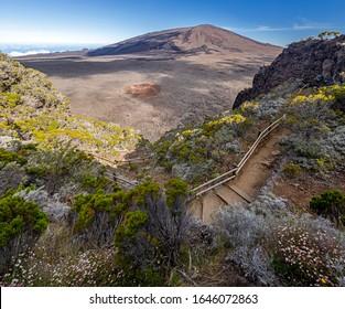 Hiking trail into the Caldeira of volcano Piton de la Fournaise at island La Reunion
