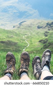 Hiking trail in Lake District mountains, Helvellyn, England