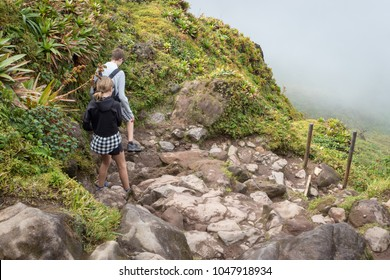 Hiking trail leading to the active volcano La Soufriere in Guadeloupe, Caribbean