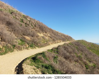 Hiking trail leading up a hill side, California
