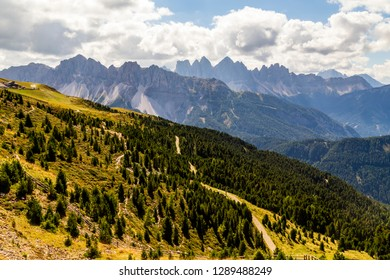 hiking trail in the mountain in south tyrol, italy
