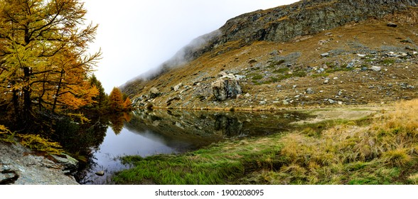 Hiking trail in the mountains during autumn time
