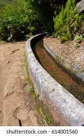 Hiking trail, named as Levada,  in Madeira Island, Portugal