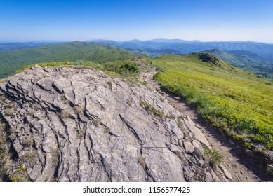 Hiking trail on the mount Rozsypaniec in Bieszczady National Park, Subcarpathian Voivodeship of Poland