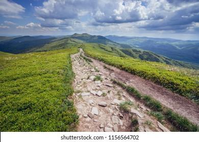 Hiking trail from Orlowicz mountain pass to Smerek mountain in Bieszczady National Park, Poland