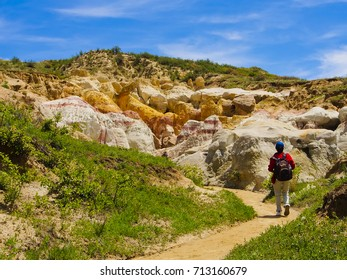 Hiking trail of paint mines colorado and hiker