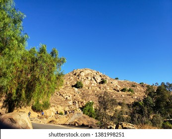 hiking trail to the pick of rocky mount Rubidoux in riverside,california .usa september 30,2018