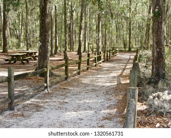 A hiking trail and picnic area