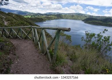 hiking trail rail at Cuicocha Lagoon in Ecuador