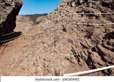 The hiking trail road to the top of volcano Vesuvius, around the crater in Italy, Naples.