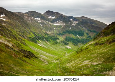 Hiking trail in the Romanian Fagaras mountains in the summer