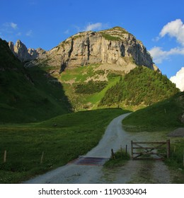 Hiking trail and Saxer First. Morning scene in Appenzell Canton, Switzerland.