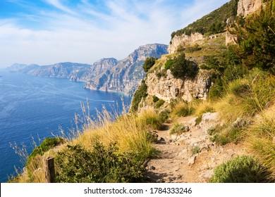 The hiking trail Sentiero degli Dei (  Path of the Gods) along the Amalfi Coast  from Agerola to Nocelle, Province of Salerno,  Campania, Italy.
