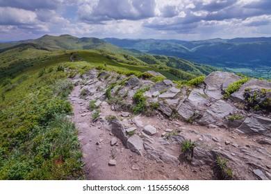 Hiking trail from Smerek Peak in Bieszczady National Park, Poland