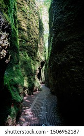 Hiking Trail through the Dragon Gorge at the foot of the Wartburg near Eisenach in Thuringia